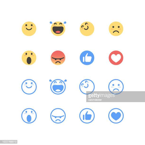 basic emoticons color and line art - like button stock illustrations
