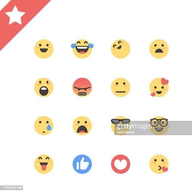 basic emoticons color and line art - facebook stock illustrations
