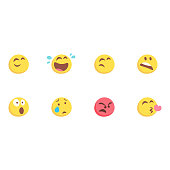 vector illustration set eight basic emoticons