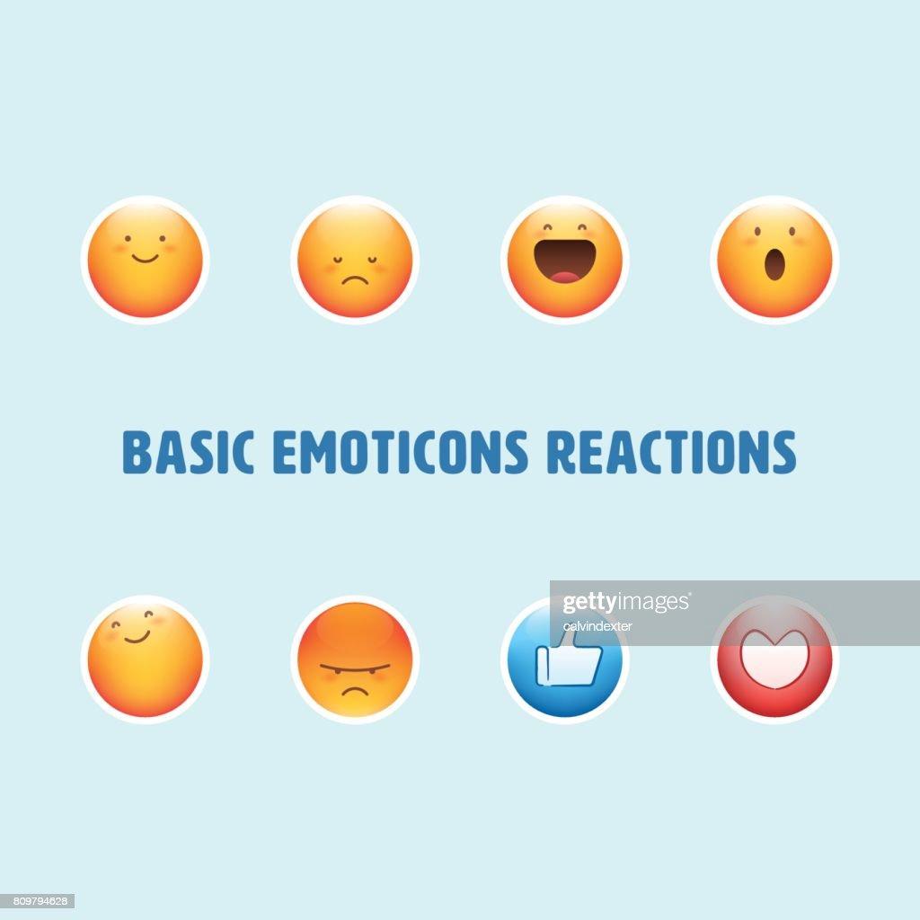 Basic emoticons reactions