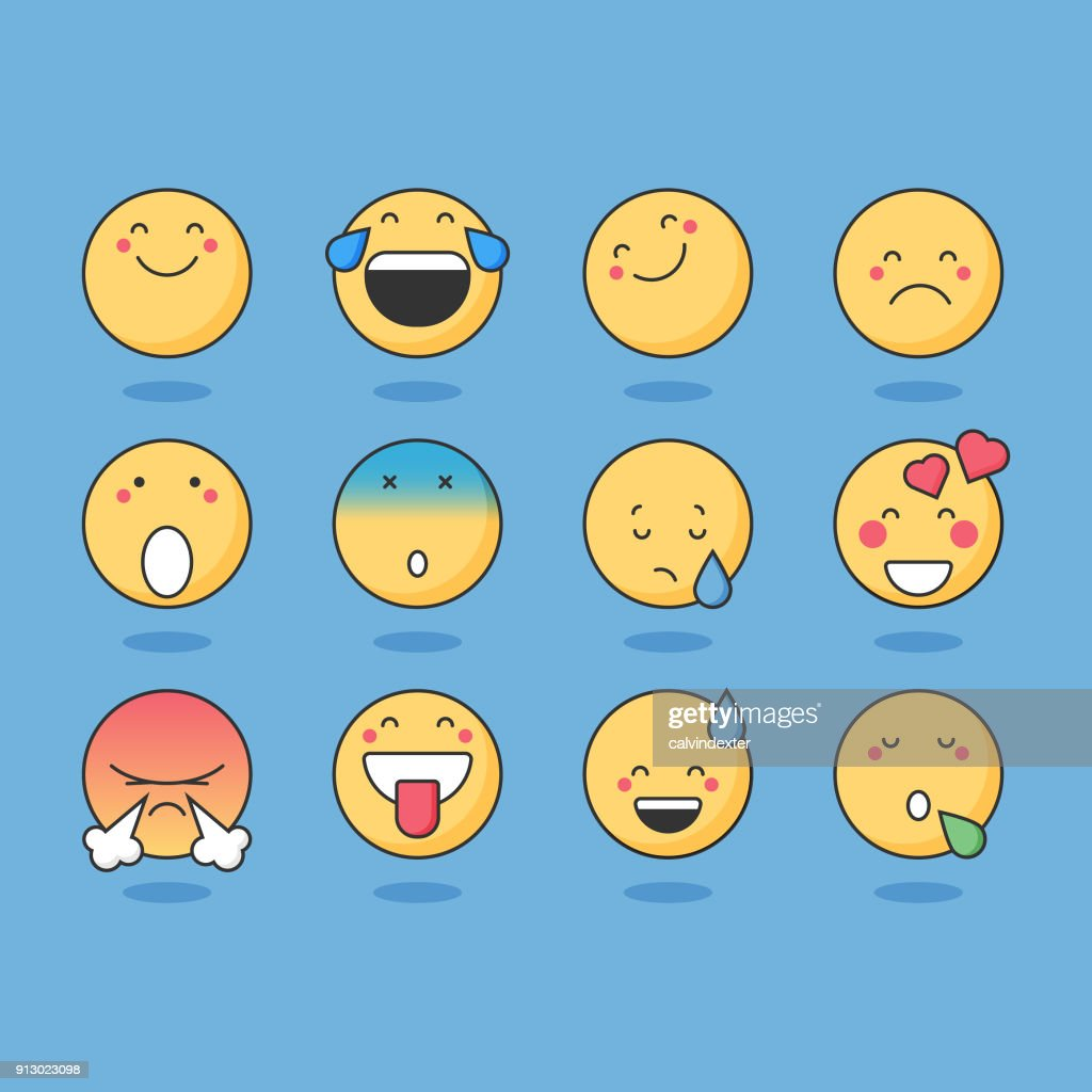 Basic emoticons : stock vector