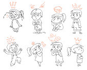 Basic emotions. Funny cartoon character
