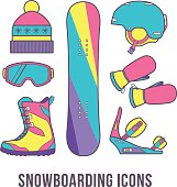 Basic equipment for snowboarding.
