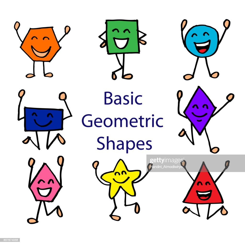 basic geometric shapes with cute cartoon face vector art | getty images