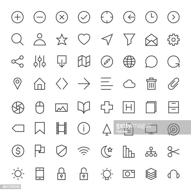 basic icon 64 icons set 1 - line series - plus sign stock illustrations, clip art, cartoons, & icons