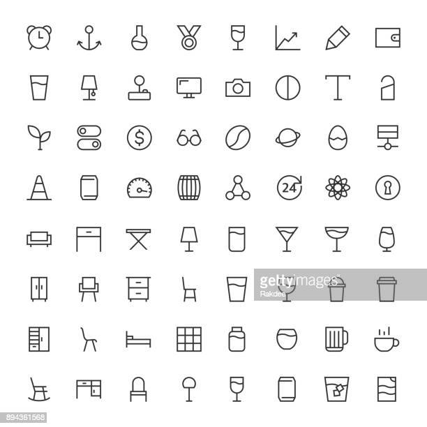 basic icon 64 icons set 3 - line series - joystick stock illustrations, clip art, cartoons, & icons