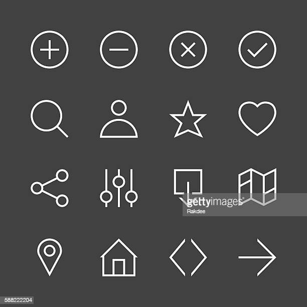 basic icon set 1 - white line series - closed sign stock illustrations, clip art, cartoons, & icons