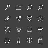 Basic Icon Set 8 - White Line Series