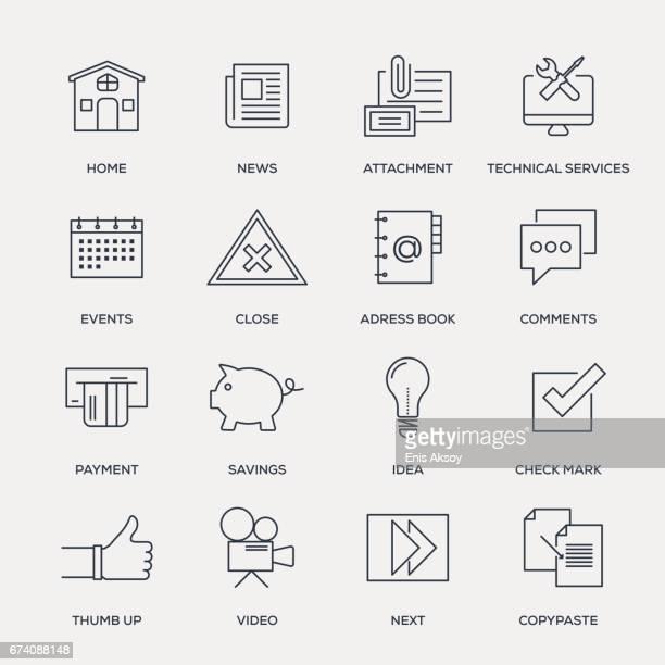 ilustrações, clipart, desenhos animados e ícones de ícones básicos - linha série - jornal