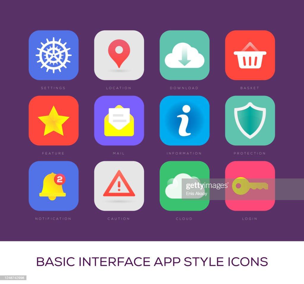基本的なインターフェイス アプリ スタイル アイコン : ストックイラストレーション