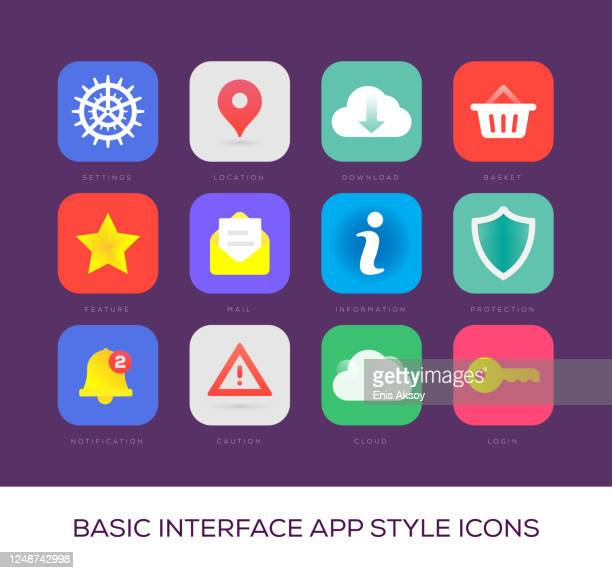 basic interface app style icons - homepage stock illustrations