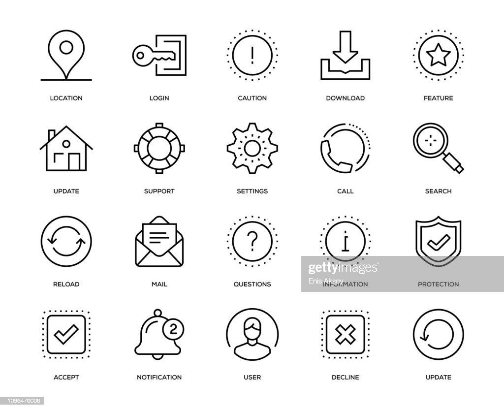 Basic Interface Icon Set : stock illustration
