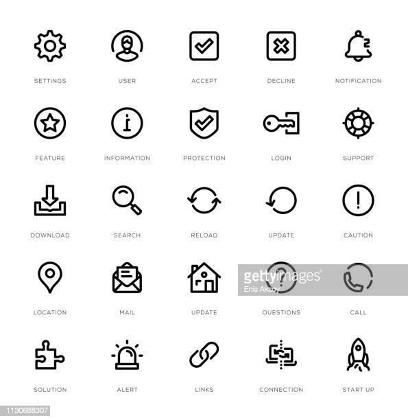 basic interface line icon set - alertness stock illustrations