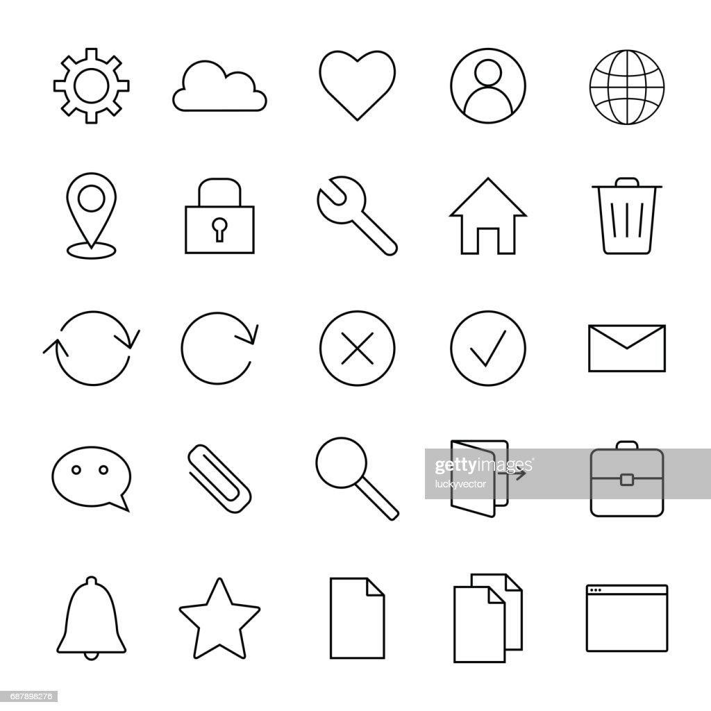 Basic interface line icons.