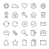 Basic interface line icons.