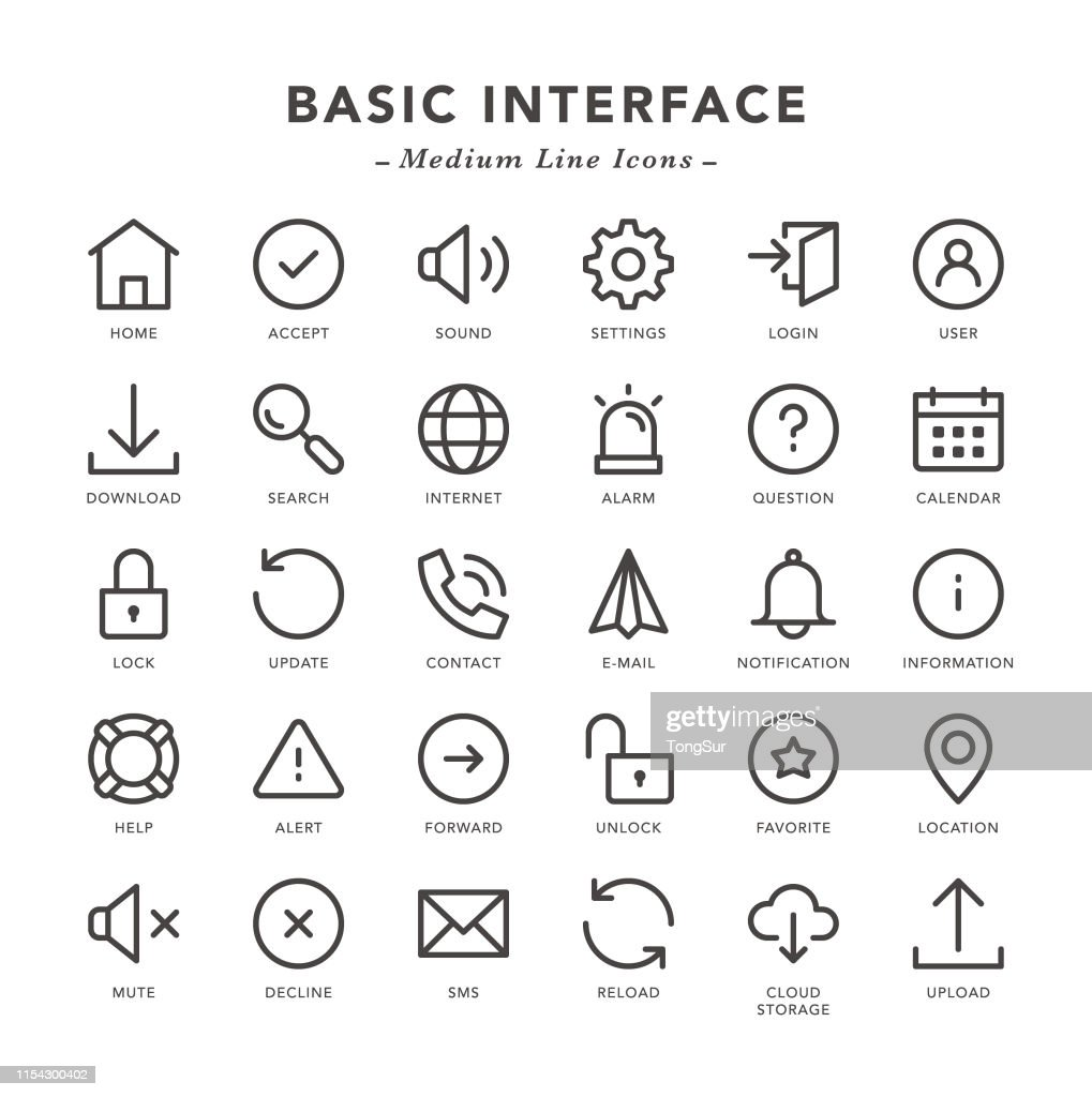 Basic Interface - Medium Line Icons : Stock Illustration