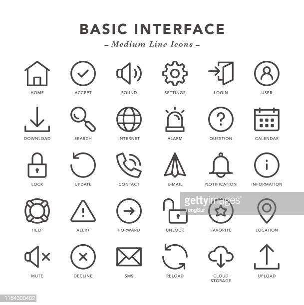 basic interface - medium line icons - illustration technique stock illustrations, clip art, cartoons, & icons