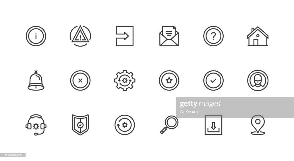 基本インタフェース、設定、ユーザ、ロケーション、保護アイコン : ストックイラストレーション