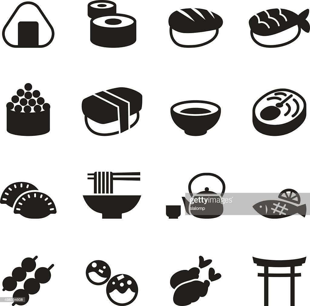 Basic Japanese food icons set