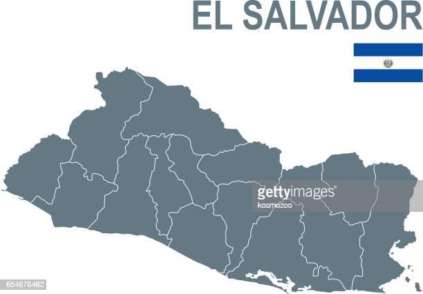 境界線を含む、エルサルバドルの基本的なマップ - エルサルバドル国旗点のイラスト素材/クリップアート素材/マンガ素材/アイコン素材