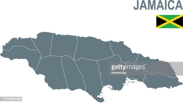 basic map of jamaica including boundary lines - jamaica stock illustrations, clip art, cartoons, & icons