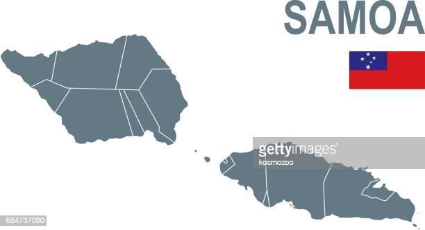 basic map of samoa including boundary lines - samoa stock illustrations, clip art, cartoons, & icons
