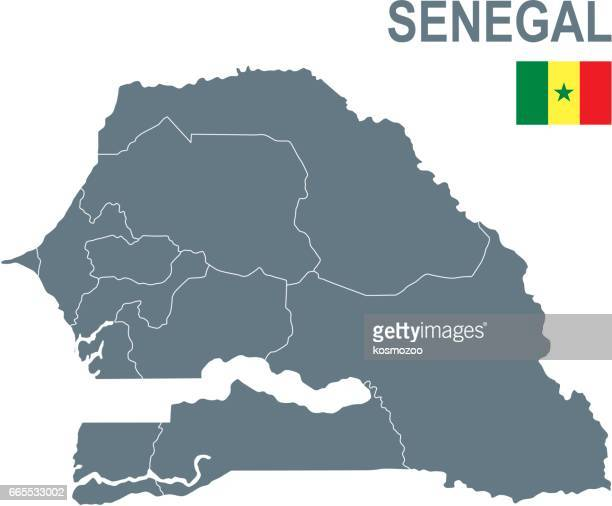 basic map of senegal including boundary lines - senegal stock illustrations, clip art, cartoons, & icons