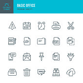 Basic Office  - Thin Line Icon Set