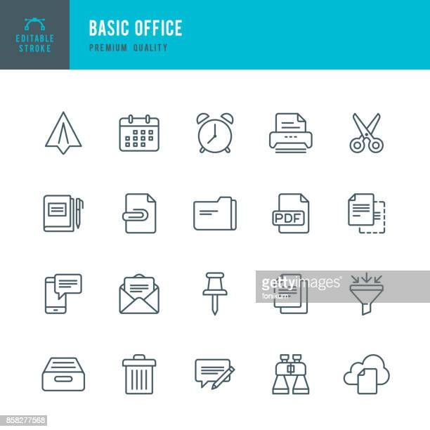 basic office  - thin line icon set - paperwork stock illustrations