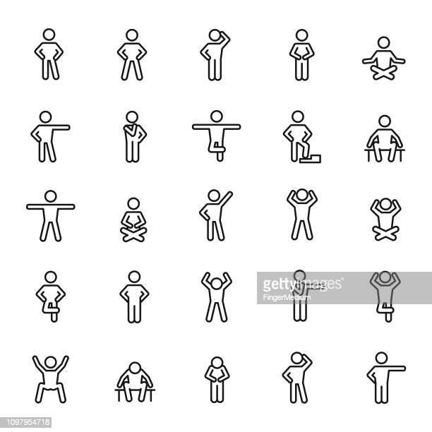 basic posture icons - standing stock illustrations