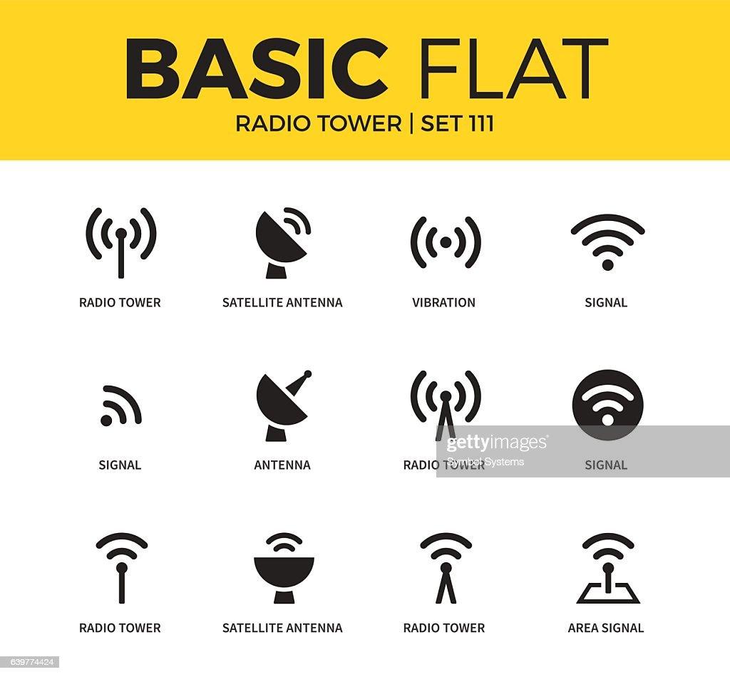 Basic set of Radio tower icons