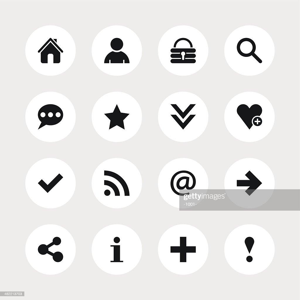 Basic sign black pictogram white icon circle button