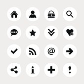Basic sign black pictogram white icon circle button