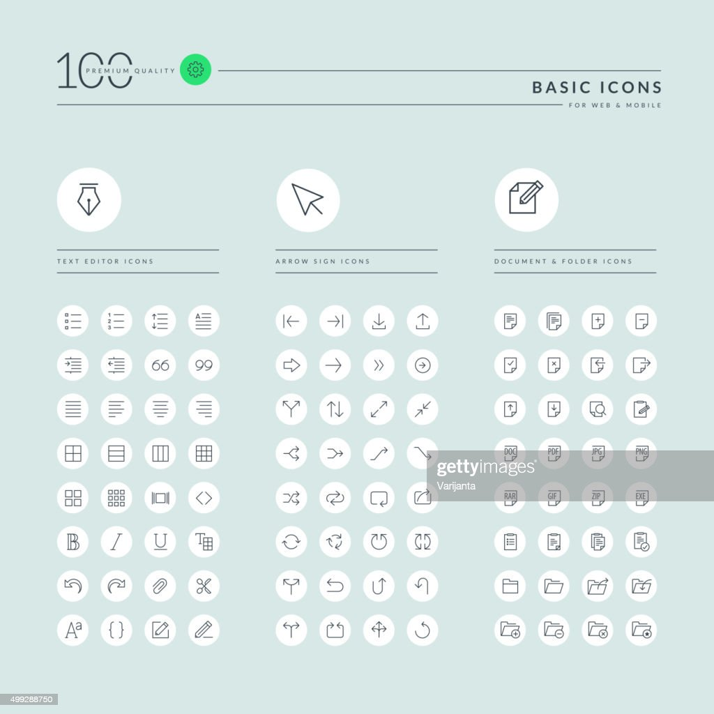 Basic thin line web icons collection