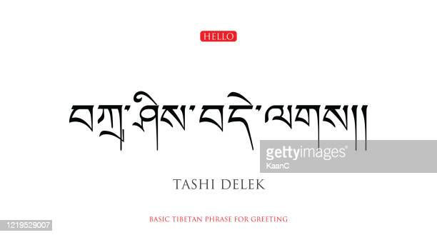 ilustrações de stock, clip art, desenhos animados e ícones de basic tibetan phrase for greating. stock vector - nepal
