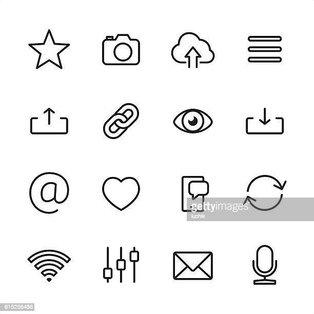 ui basics - outline style vector icons - 発送書類入れ点のイラスト素材/クリップアート素材/マンガ素材/アイコン素材