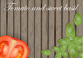 Basil leaves on wooden background with tomatoes. Tomato banner on wood.  Place for text. Vector