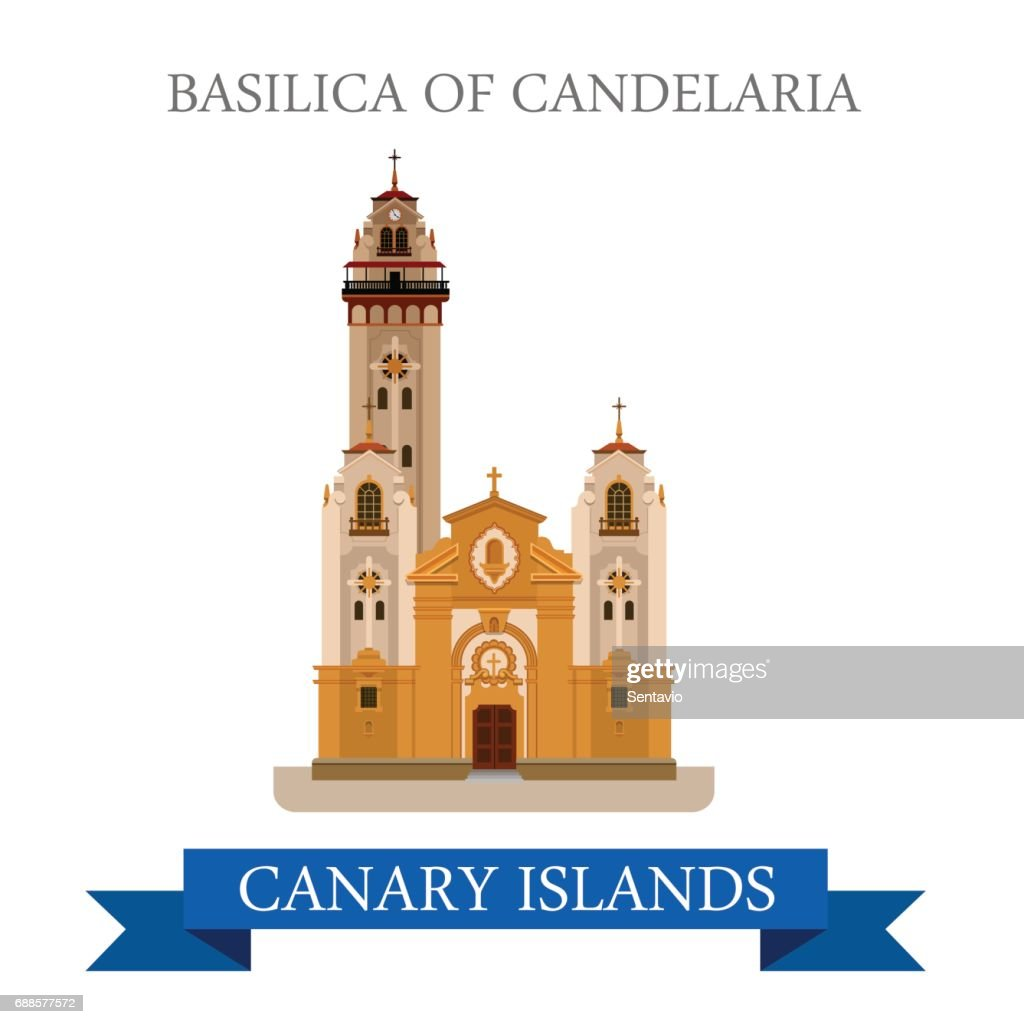 Basilica of Candelaria in Canary Islands. Flat cartoon style historic sight showplace attraction web site vector illustration. World countries cities vacation travel sightseeing Africa collection.