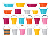 Basin, bucket icons. Vector illustration. Flat design.