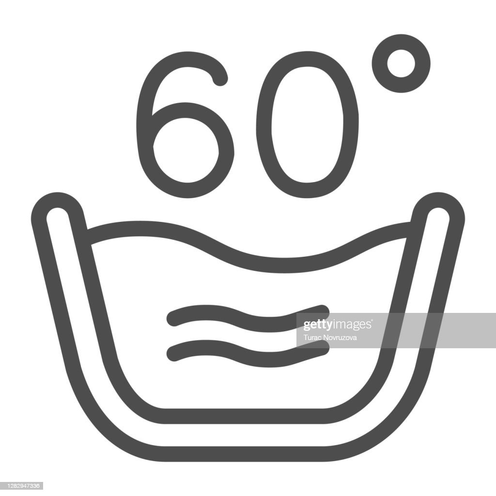 Basin of hot water line icon, Cleaning service concept, Wash at or below 60C sign on white background, Wash water temperature icon in outline style for mobile, web design. Vector graphics. : stock illustration