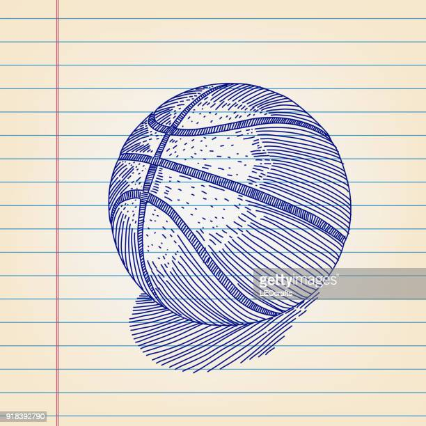 Basket Ball Drawing on Lined paper