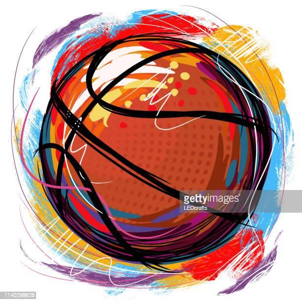 basket ball drawing - clip art stock illustrations