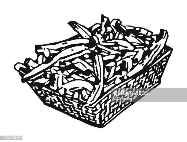 basket of french fries - french fries stock illustrations, clip art, cartoons, & icons