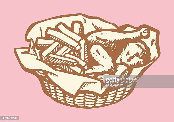 basket of fried chicken and fries - french fries stock illustrations, clip art, cartoons, & icons