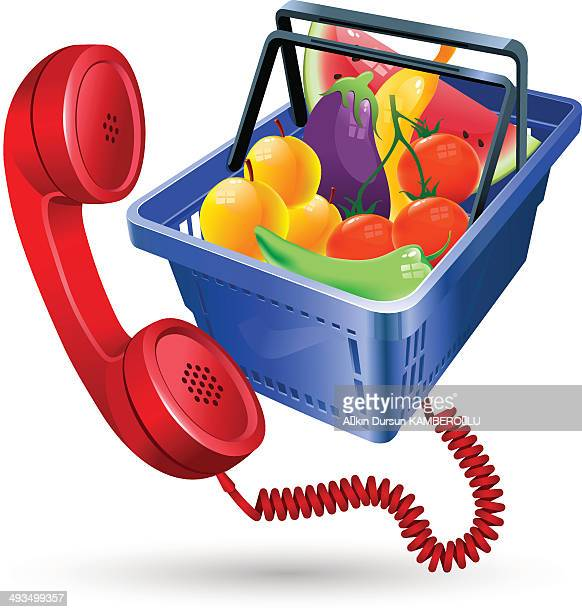 basket of vegetables & fruits - marrom stock illustrations