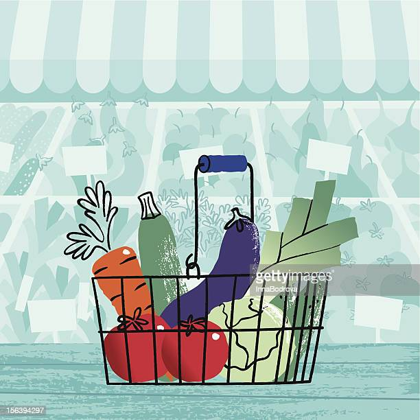 basket of vegetables. - marrom stock illustrations