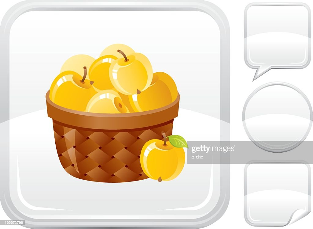 Basket with apples icon on silver button