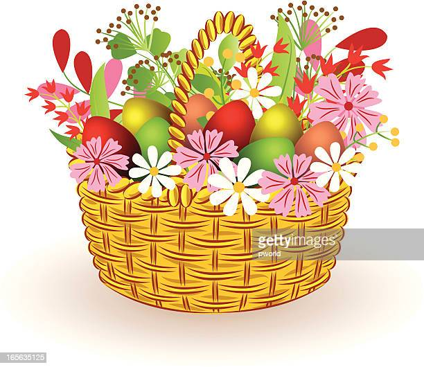 basket with eggs and flowers - exclusive to istockphoto - istock_photo stock illustrations