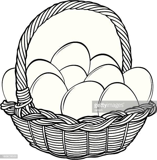 basket with eggs - wicker stock illustrations