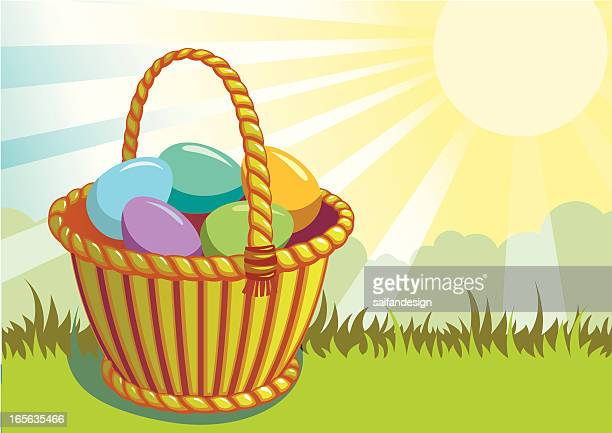ilustrações, clipart, desenhos animados e ícones de cesta com ovos - cesta de páscoa